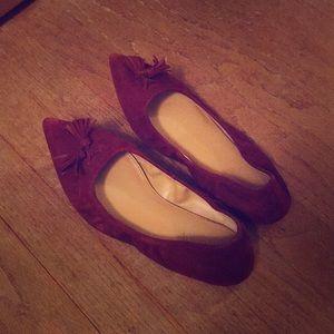 Women's JCrew maroon loafer flats. 6 1/2